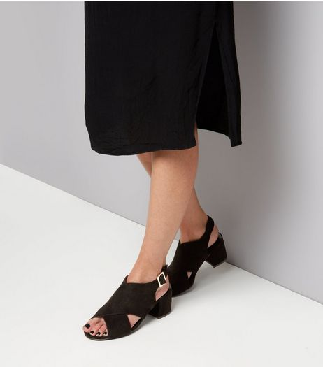 Wide Fit Black Suedette Cross Front Block Heel Sandals | New Look