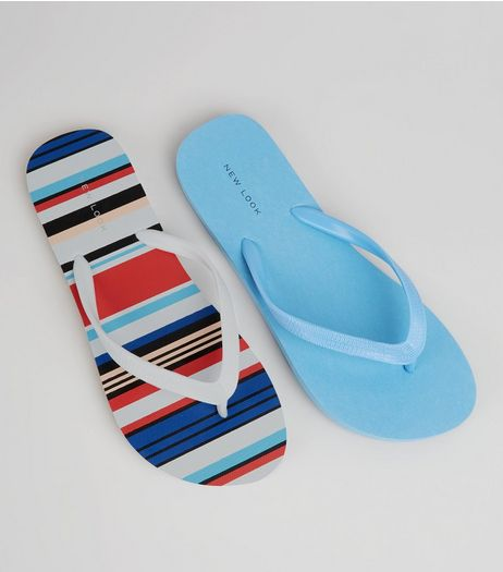 2 Pack Blue Stripe Flip Flops | New Look