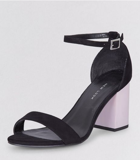 Wide Fit Black Suedette Contrast Block Heels | New Look