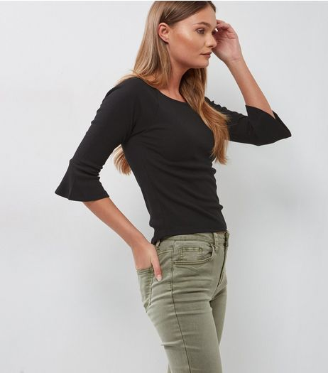 Black Bell Sleeve Slim Fit Top | New Look