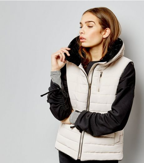 Cream Fitted Padded Gilet | New Look
