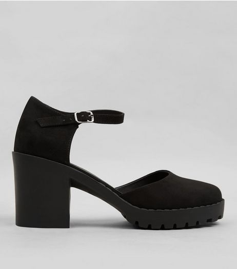Teens Black Suedette Platform Chunky Heels | New Look