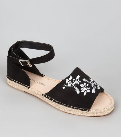 Teens Black Suedette Floral Embroidered Espadrilles | New Look