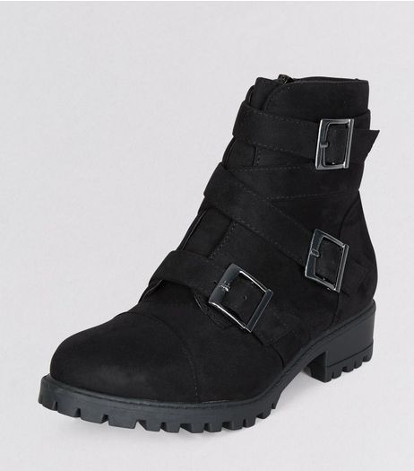 Teens Black Suedette Triple Buckle Boots | New Look