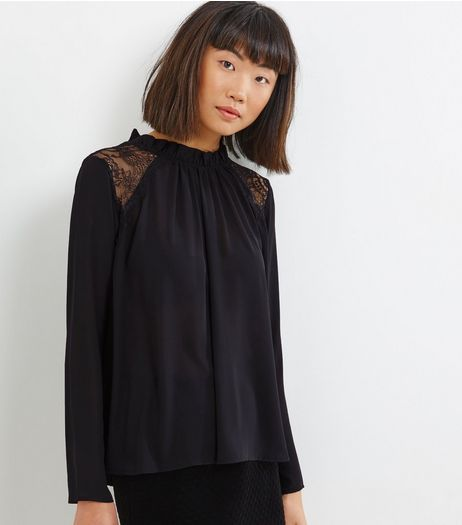 Blue Vanilla Black Lace Panel Funnel Neck Blouse  | New Look