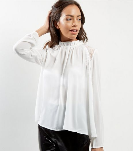 Blue Vanilla Cream Funnel Neck Lace Panel Blouse  | New Look