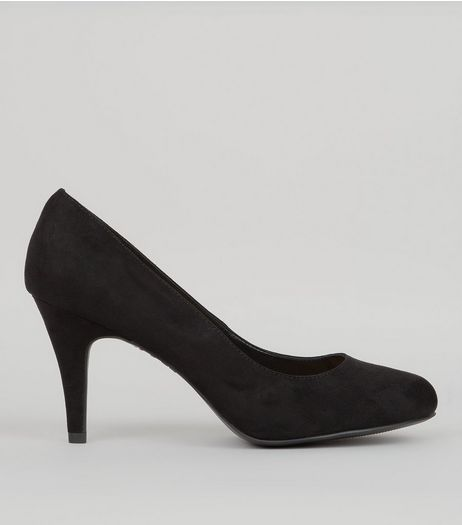 Wide Fit Black Suedette Court Shoes | New Look