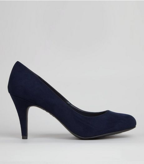Wide Fit Navy Suedette Court Shoes | New Look