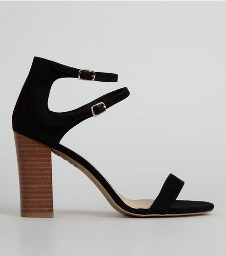 Black Double Ankle Strap Heeled Sandals | New Look