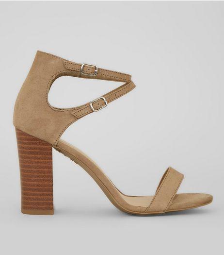 Mink Double Ankle Strap Heeled Sandals | New Look