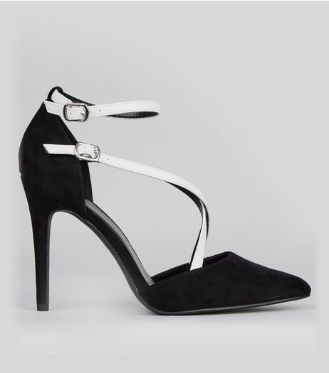 Wide Fit White Contrast Cross Strap Pointed Heels | New Look