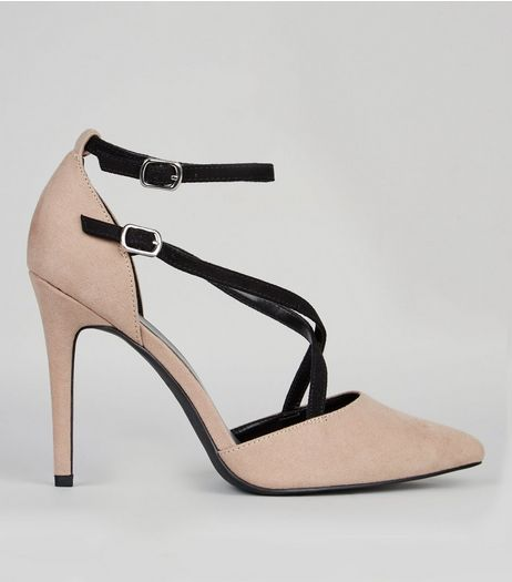 Wide Fit Mink Contrast Cross Strap Pointed Heels | New Look
