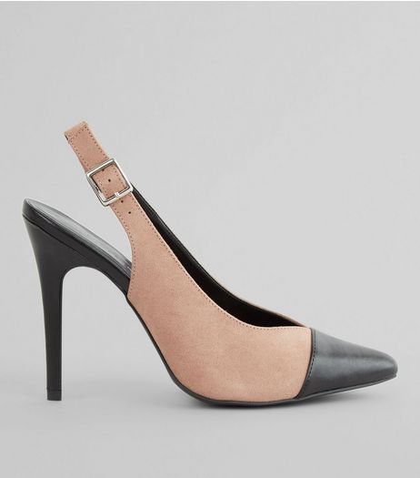Pink Contrast Toe Cap Sling Back Pointed Heels | New Look