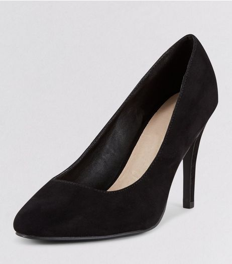 Wide Fit Black Comfort Suedette Court Shoes | New Look