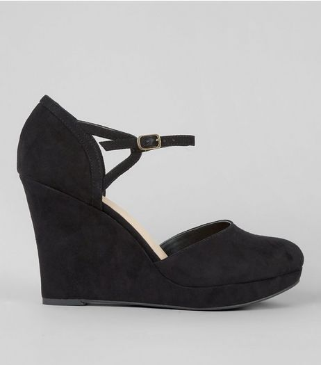 Wide Fit Black Comfort Suedette Platform Wedges Heels | New Look