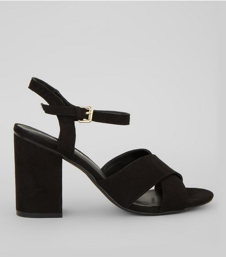 Black Cross Strap Heels | New Look