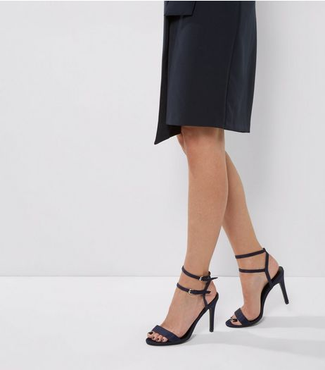 Navy Satin Double Strap Heels | New Look