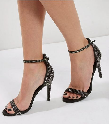 Black Satin Crystal Embellished Heeled Sandals | New Look