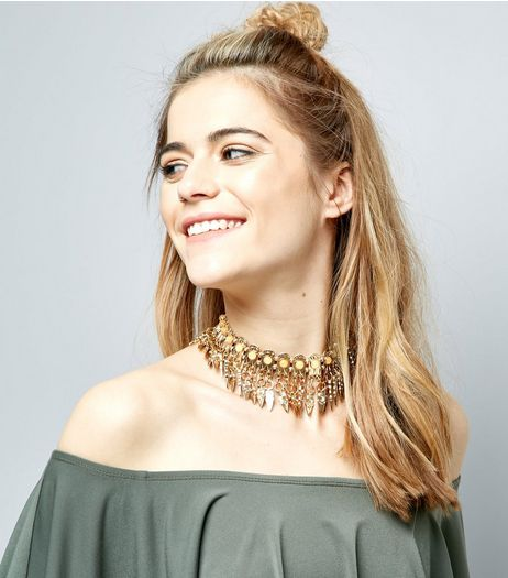 Gold Statement Tassle Drop Choker | New Look