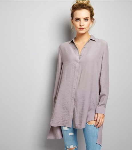 Petite Lilac Split Back Longline Shirt | New Look