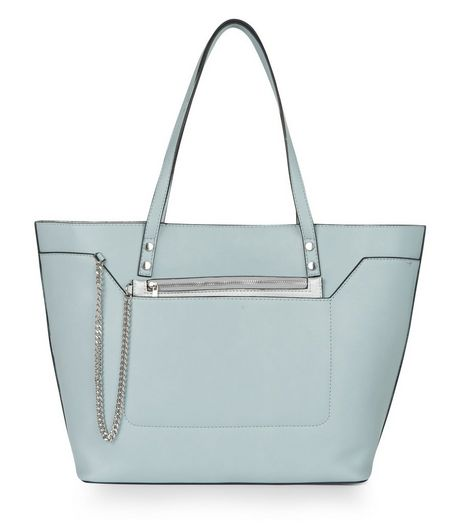 Pale Blue Chain Zip Tote Bag | New Look