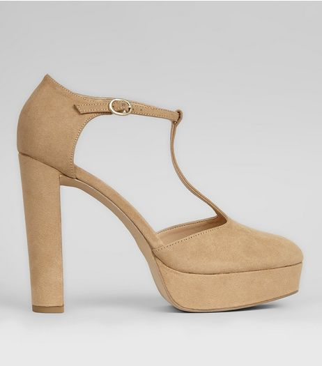 Mink Suedette T-Bar Platform Heels | New Look