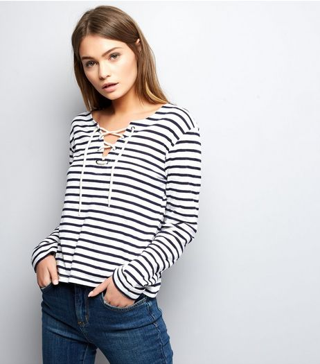White Stripe Boxy Lace Up Long Sleeve Top  | New Look