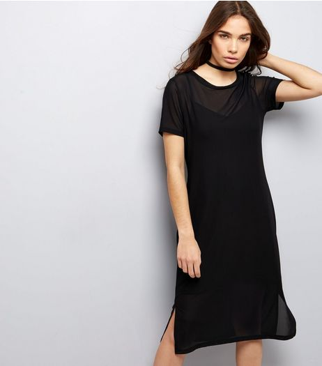 Petite Black Mesh Split Side Midi T-Shirt Dress | New Look