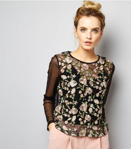Petite Black Floral Embroidered Layered Mesh Top | New Look