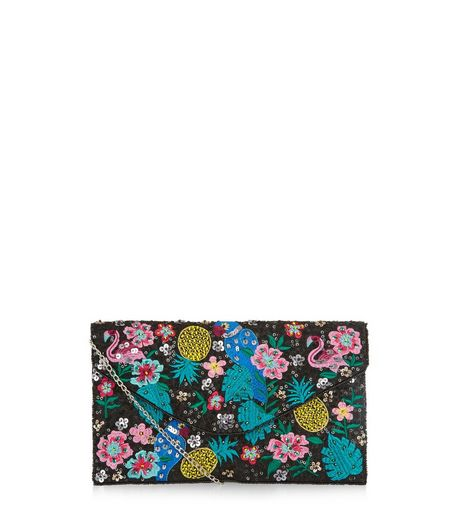 Black Tropical Embellished Design Clutch  | New Look