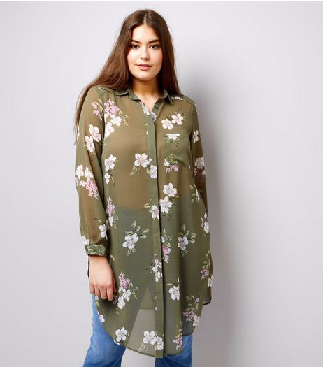 Curves Green Floral Print Chiffon Longline Shirt | New Look