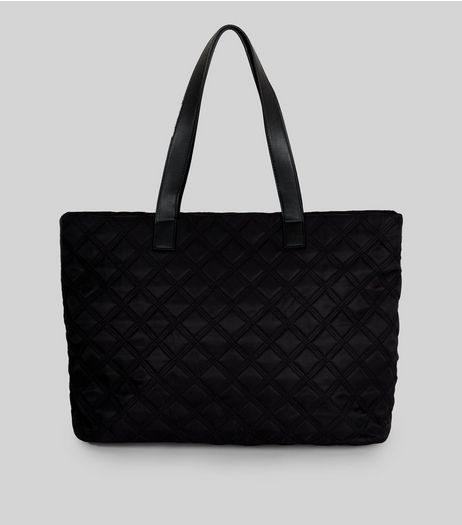 Black Nylon Quilted Tote Bag | New Look