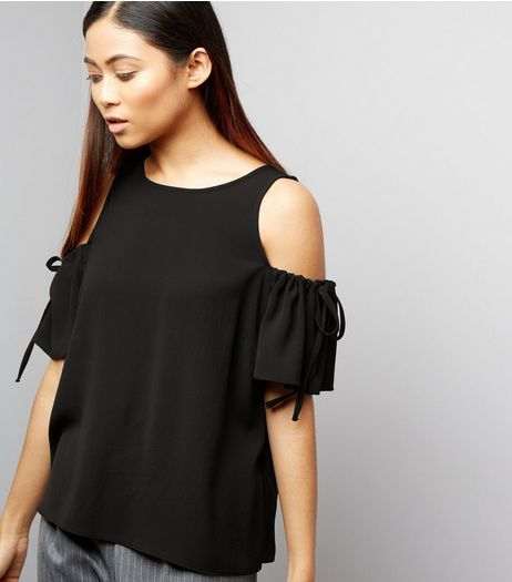 Petite Black Ruched Tie Cold Shoulder Top | New Look