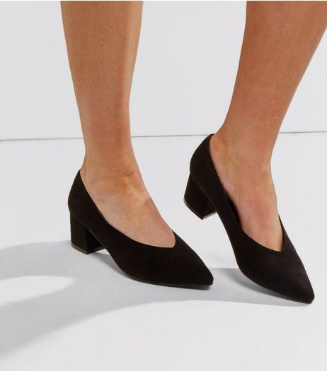 Wide Fit Black Suedette V Throat Court Shoes | New Look
