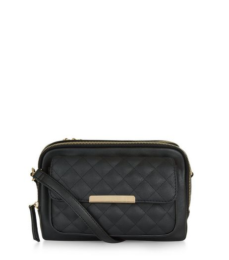 Black Quilted Camera Bag | New Look