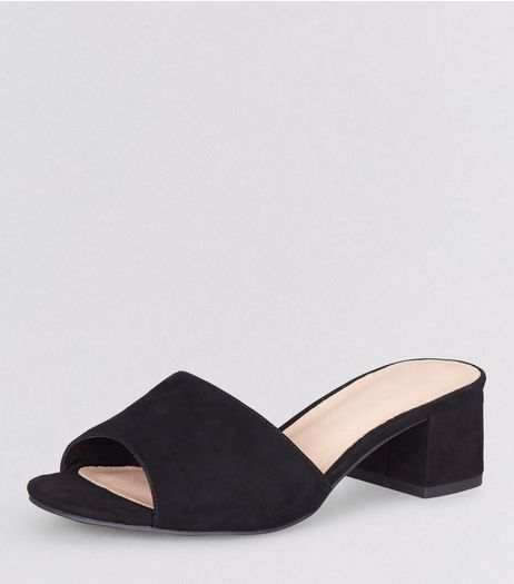 Wide Fit Black Comfort Suedette Block Heel Mules | New Look