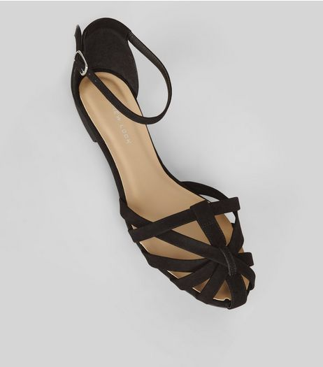 Wide Fit Black Suedette Caged Front Sandals | New Look
