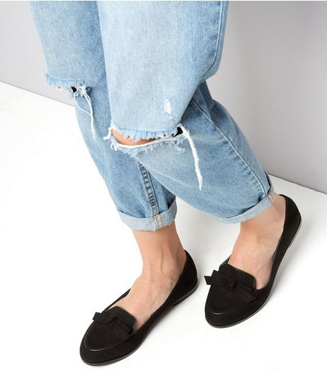 Wide Fit Black Suedette Bow Front Loafers | New Look