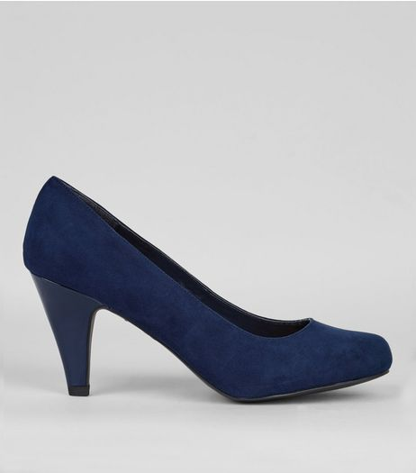 Extra Wide Fit Navy Suedette Court Shoes | New Look