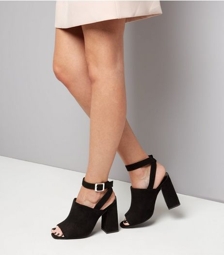 Wide Fit Black Suedette Ankle Strap Flared Heels | New Look