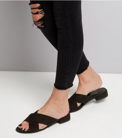 Wide Fit Black Suedette Cross Strap Mules | New Look