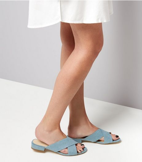 Wide Fit Blue Suedette Cross Strap Mules | New Look