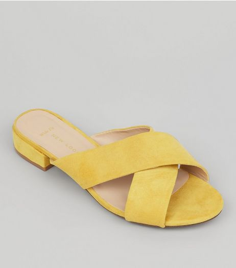 Wide Fit Yellow Suedette Cross Strap Mules | New Look