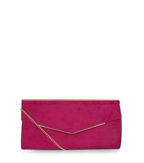 Bright Pink Suedette Metal Trim Clutch | New Look