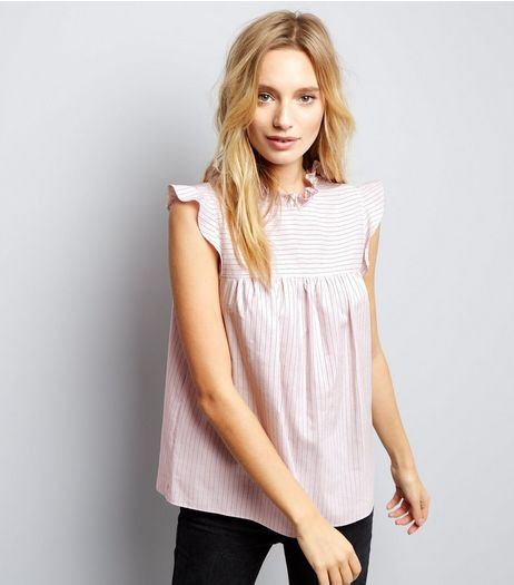 Pink Stripe Frill Trim Cap Sleeve Top | New Look