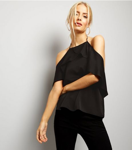 Black Sateen Frill Trim Halter Neck Top  | New Look