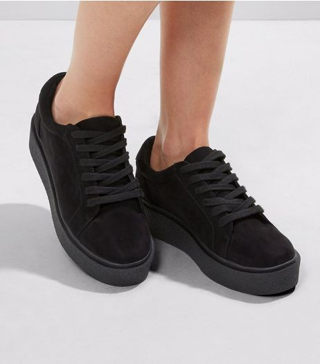 Black Suedette Creeper Trainers | New Look