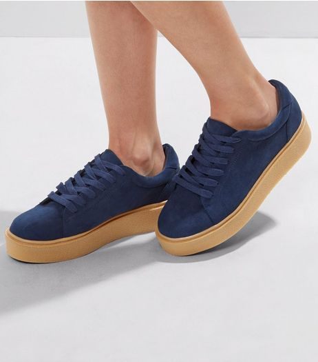 Navy Suedette Contrast Chunky Sole Trainers | New Look