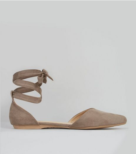Brown Suedette Ankle Tie Fastening Sandals | New Look