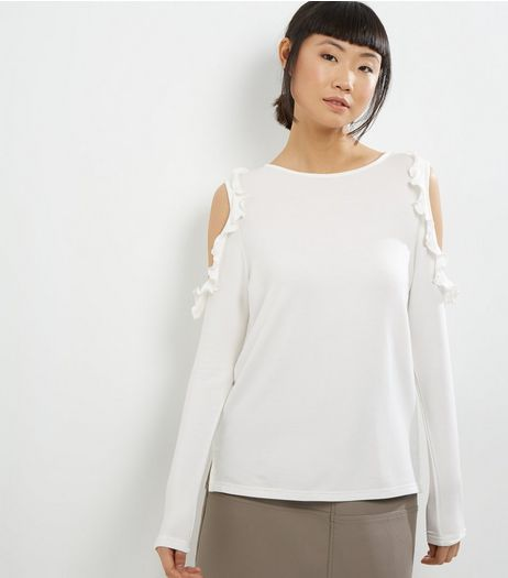 Innocence Cream Frill Trim Cold Shoulder Top  | New Look
